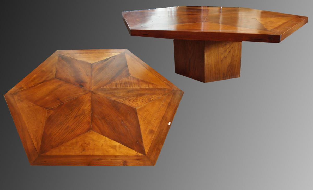 une table hexagonale en parquet xviiie tables basses. Black Bedroom Furniture Sets. Home Design Ideas