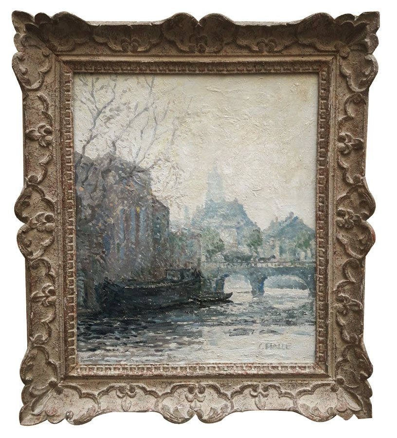 Oil On Canvas, Bord De Seine, By Charles Malle