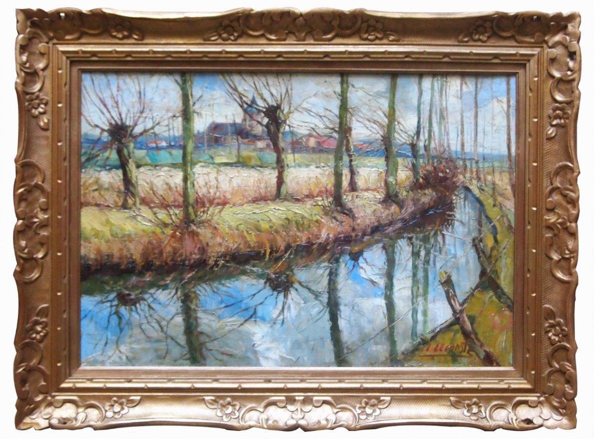 Oil On Canvas, Riverside By Léopold Lecomte