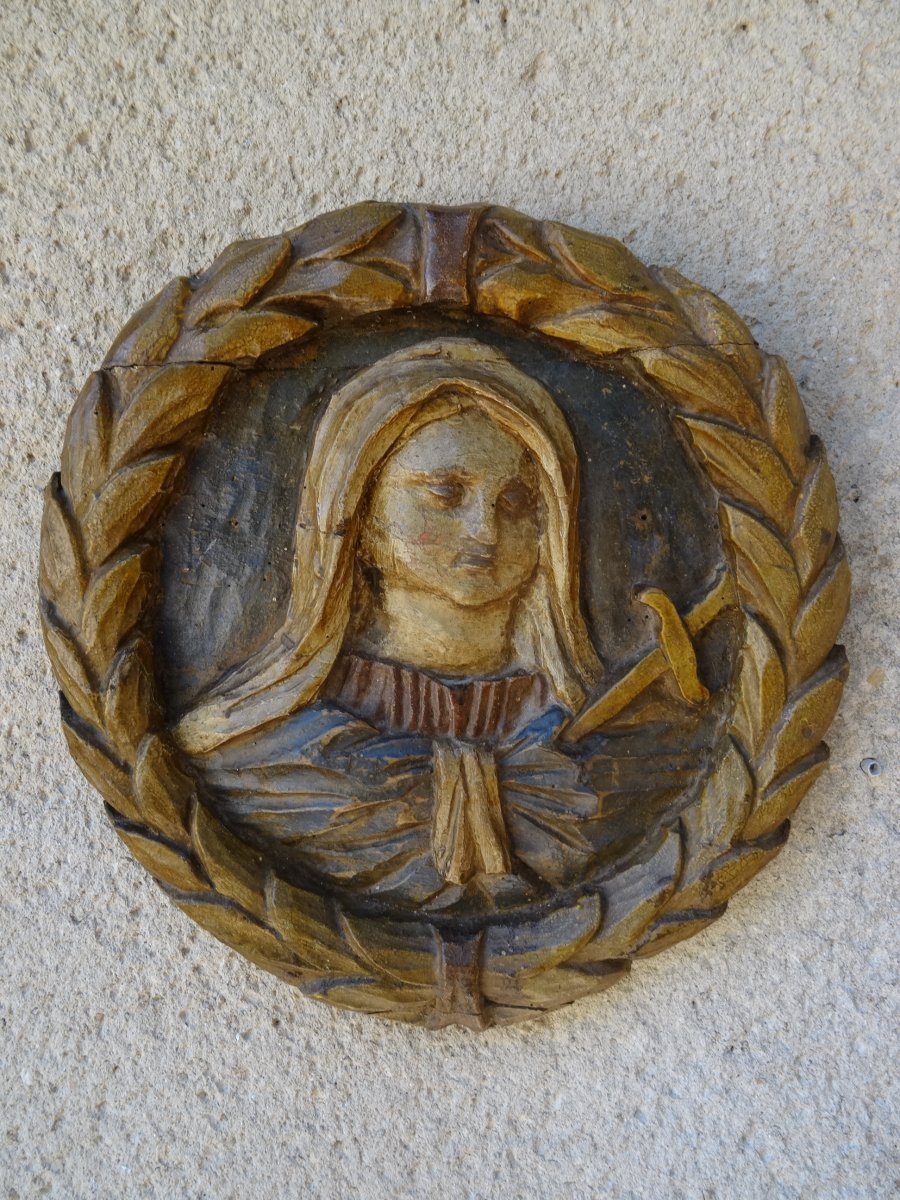Small Carved Virgin Panel