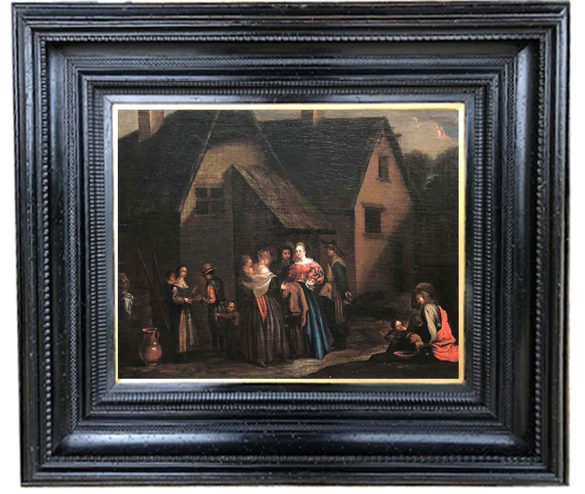 Oil On Canvas, Village Scene, Dutch School