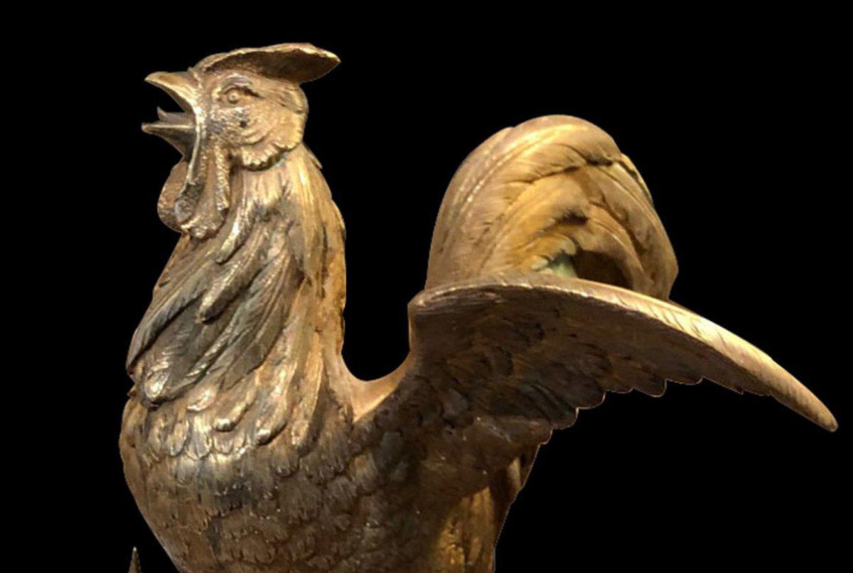 Coq Gaulois En Bronze Doré -photo-3