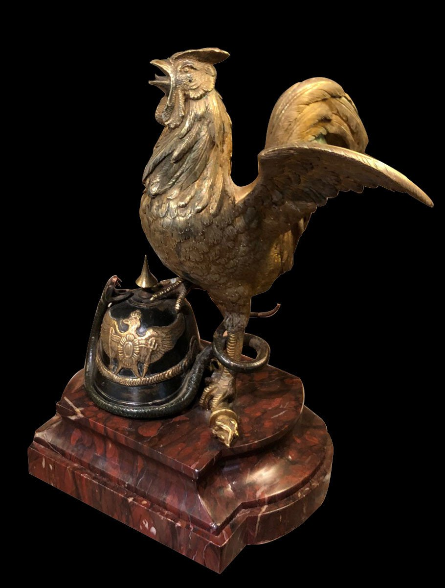 Gallic Rooster In Gilt Bronze