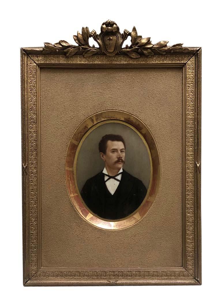 An Oil On Porcelain,, Portrait Of A Gentlemann, Late 19th