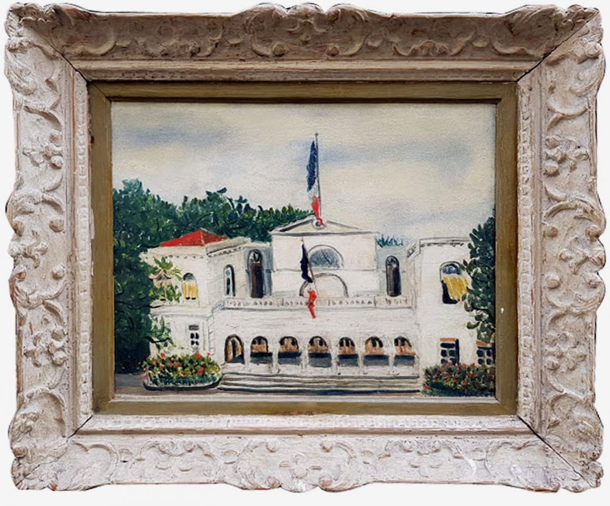 An Oil On Canvas, Town Hall By Elisée Maclet