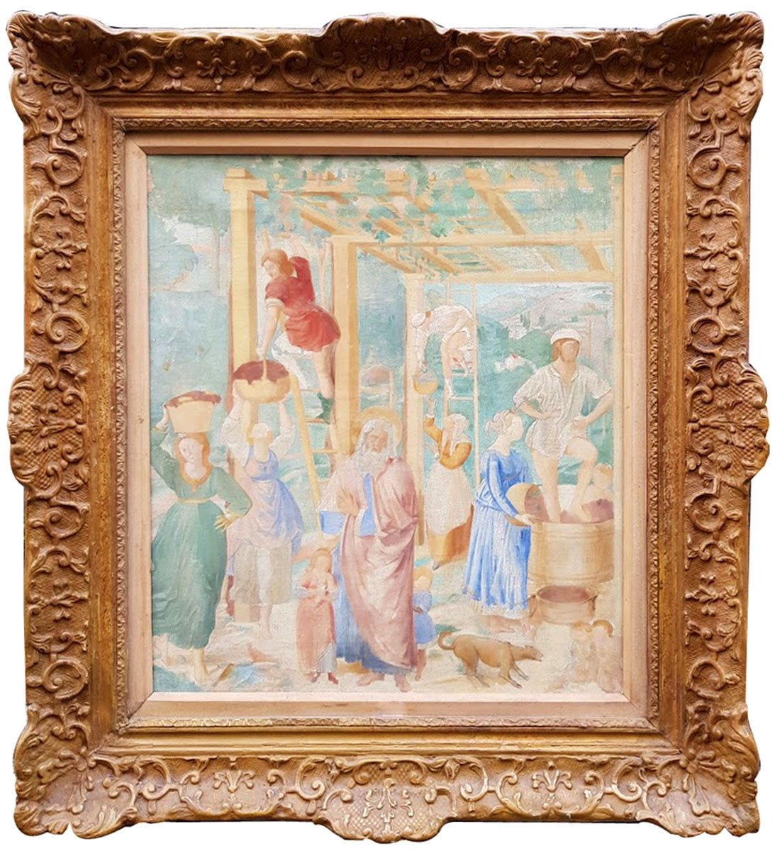 Oil On Canvas, 19th Harvest Scene