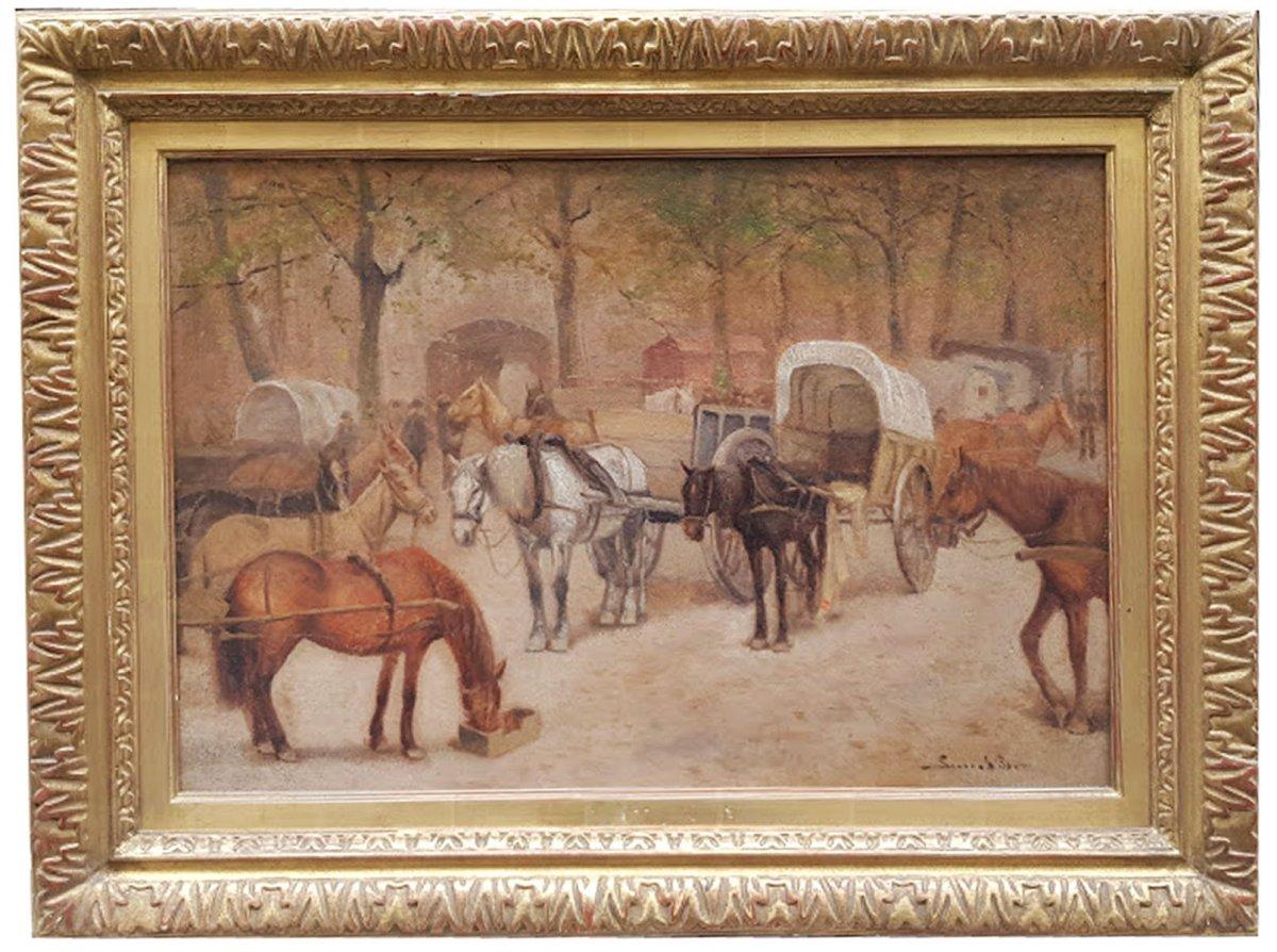 Oil On Wood, La Pause Des Cochers,