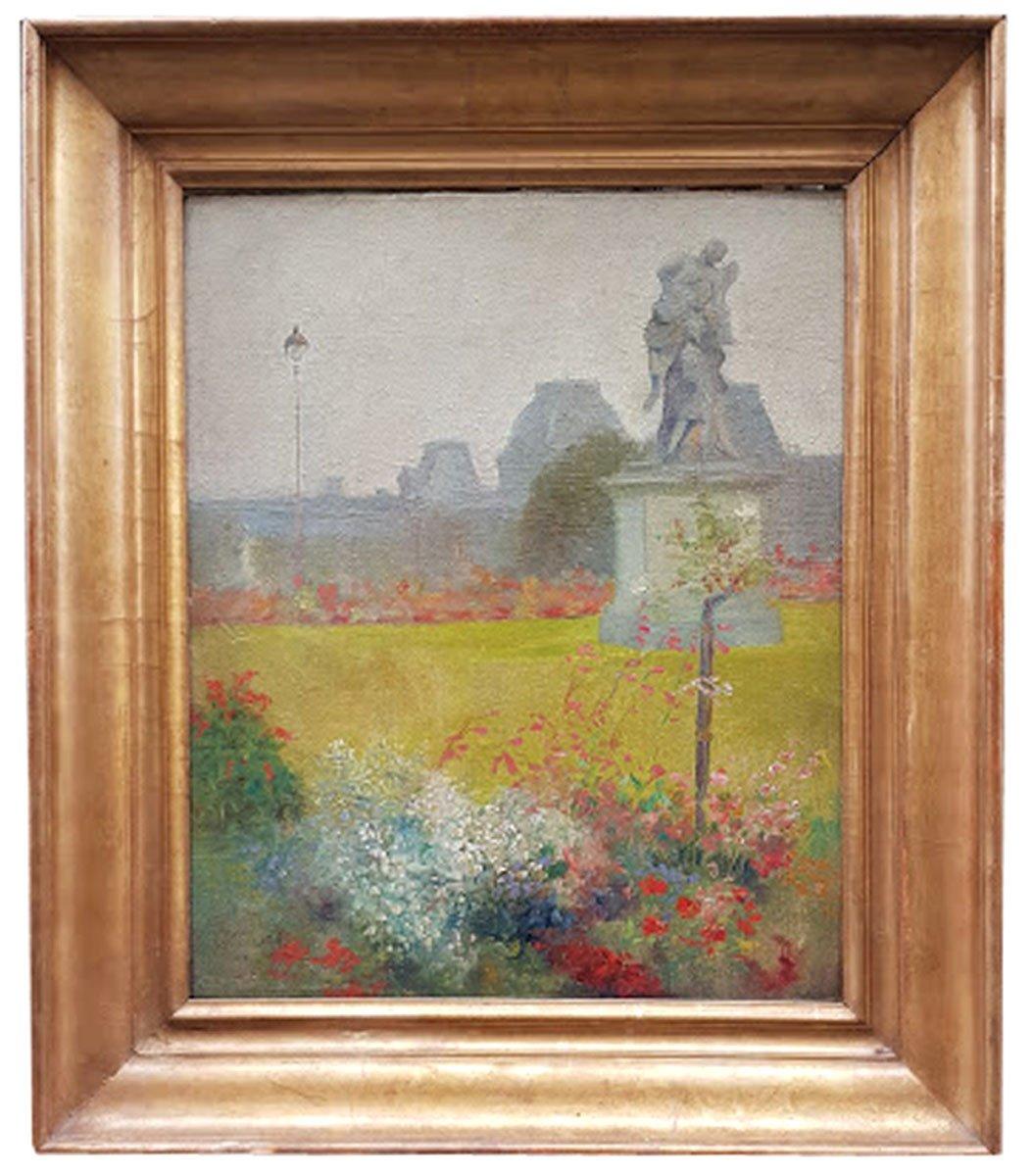 Huile Sur Toile, Le Jardin Des Tuileries, Par Nicolas Sicard