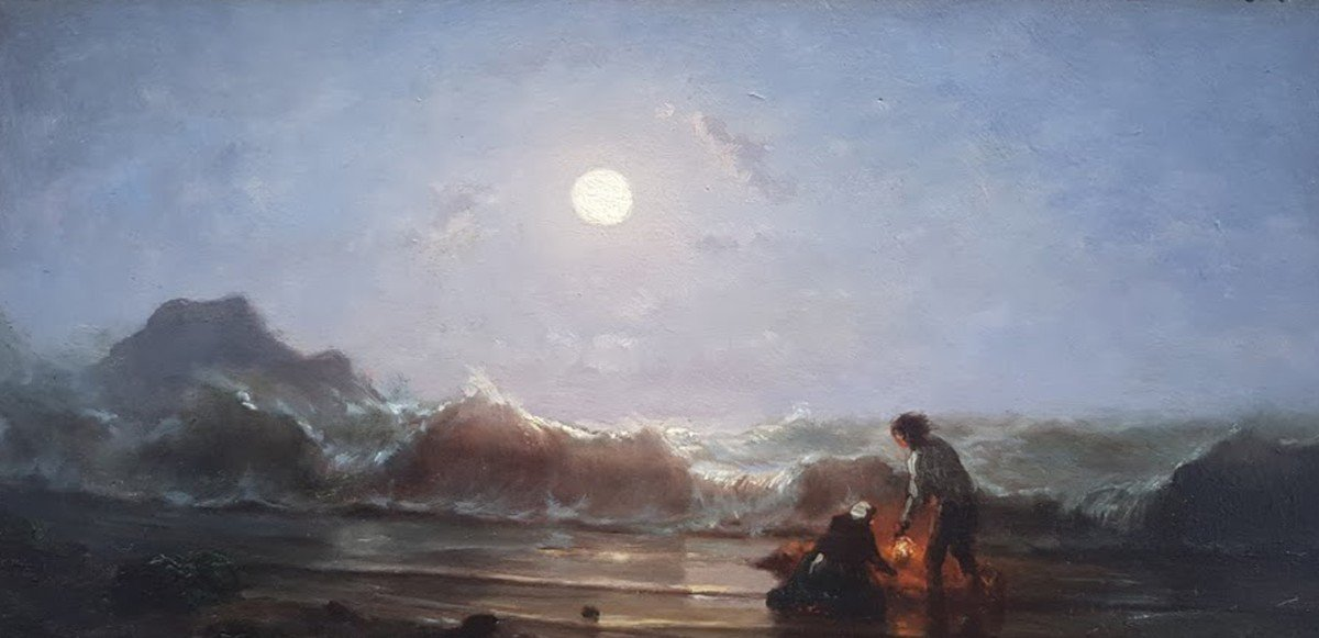 Huile, Bor De Mer Au Clair De Lune Par  Amédée Rosier -photo-2