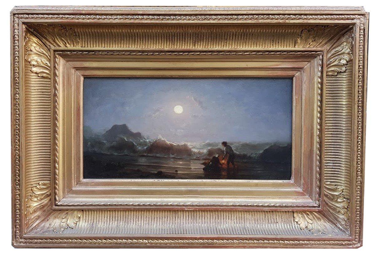 Huile, Bor De Mer Au Clair De Lune Par  Amédée Rosier