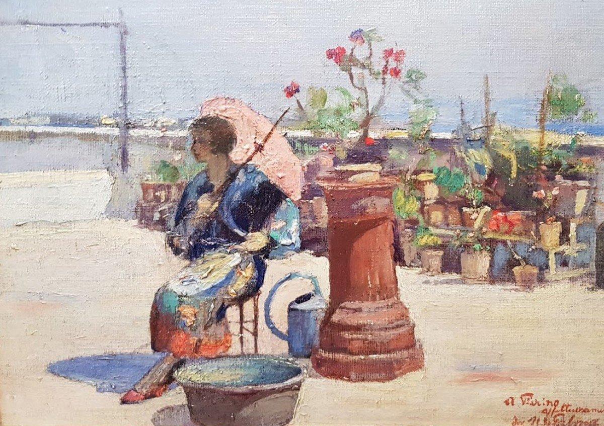 Une huile sur bois , Femme à l'ombrelle  par Hugo de PALMA-photo-2