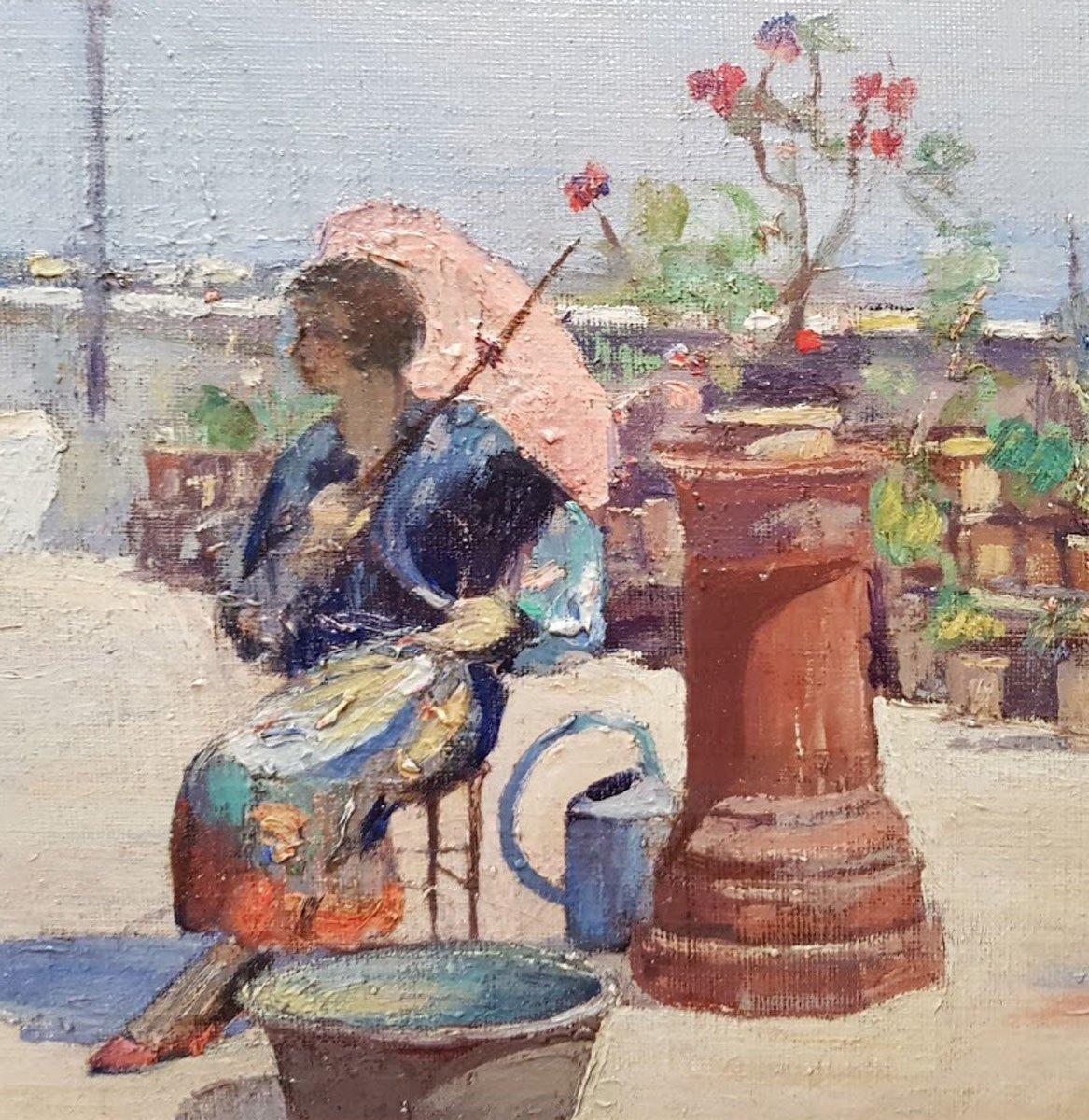 Une huile sur bois , Femme à l'ombrelle  par Hugo de PALMA-photo-3