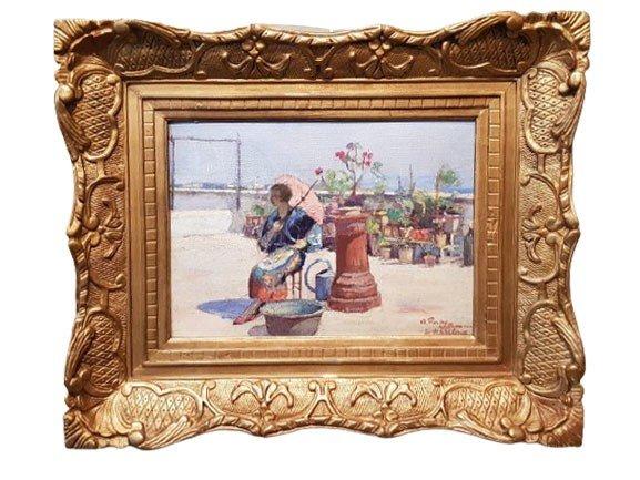 Une huile sur bois , Femme à l'ombrelle  par Hugo de PALMA