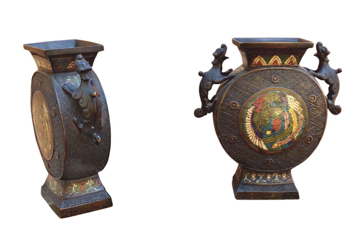Paire De Vases Cloisonés, Japon, 1900-photo-2