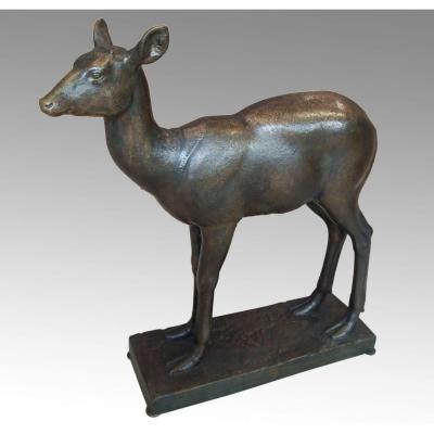 Biche En Bronze Par Eugène Guiraud