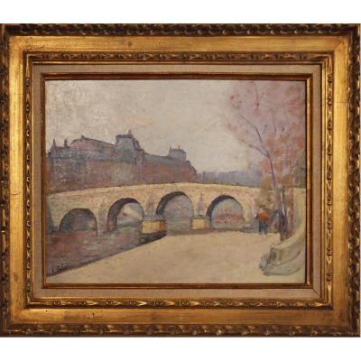 The Pont Neuf In Paris By Eugene Theophile Tellier