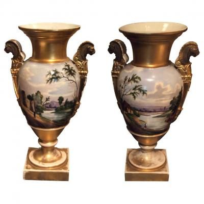 Painted And Golden Porcelain Vases, Early 19th Century