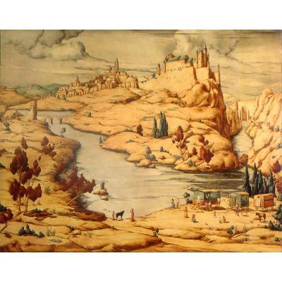 Grande Huile Sur Bois, Tolède par Marcel Caradec