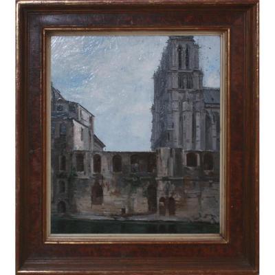 Huile sur toile, l'Hôtel Dieu à Paris, 19e Siècle