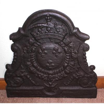 Plaque De Cheminée En Fonte, époque 17e Siècle