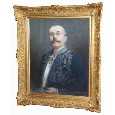 Portrait d'Homme Par Auguste Berthon, Signé Et Daté 1905