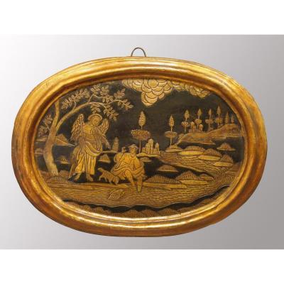 Un Panneau Ovale En Bois Polychrome : Tobie Et l'Ange, époque XVIIIe Siècle