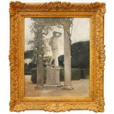 Une Huile Sur Toile, Statue Antique Sous Un Portique Par William J.E.E. LAPARRA