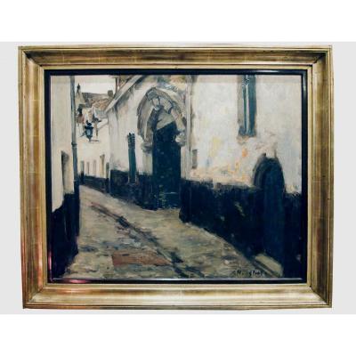 1 Oil On Canvas, Street Scene, Signed Gaston Haustrate