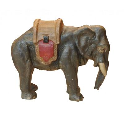Elephant In Plasterboard Time 19th Century Painted