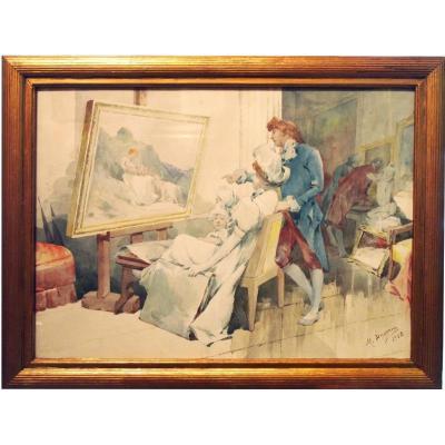 Intérieur d'Atelier De Peinture Avec Personnages Par M. Duserm