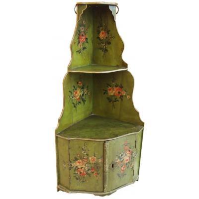 Encoignure à Suspendre Peinte Avec Fleurs époque XVIIIème