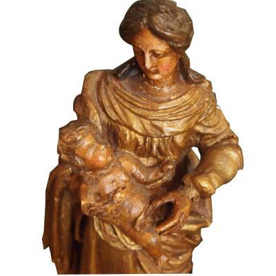 Une Vierge de procession En Bois Doré XVIIIème