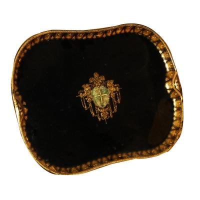1 Plate Black And Gold With Coat Of Arms Napoleon III