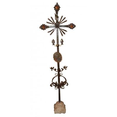 A Wrought Iron Cross Painted XVIIth Century
