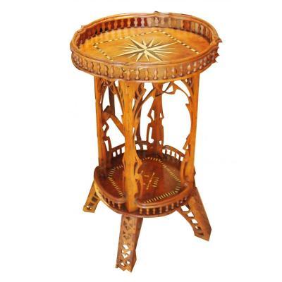 1 Wooden Pedestal Table