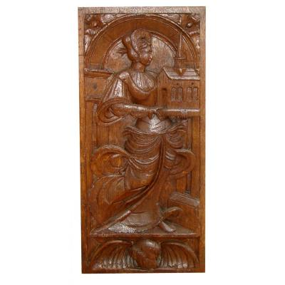 Holy On Wood Panel Carrying A Church