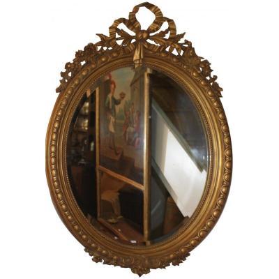 Miroir Ovale En Stuc Doré