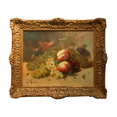 Une huile sur toile Nature Morte Aux Raisins Et Pêches Par Constantin Leroux