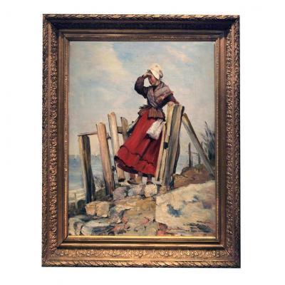 Huile sur toile Femme En Bord De Mer Guettant Par Victor Laine