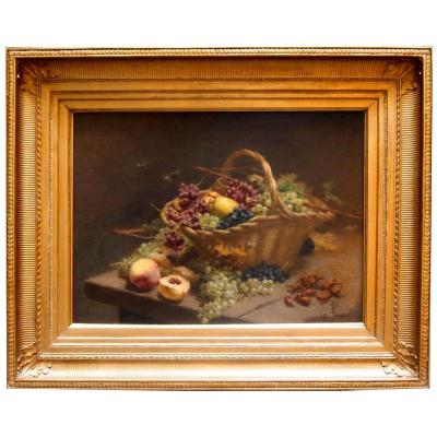Oil On Canvas, Basket With Fruits, 19th Century