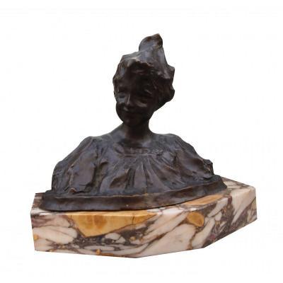 Bust Of Woman (bronze) By Vladimir Perelmagne