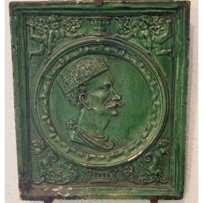 Une Plaque En Faïence Verte XVIIème