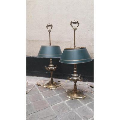 Une Paire De Lampes à Huile 19ème en bronze