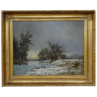 Oil On Canvas, Snow Landscape, Late 19th Early 20th