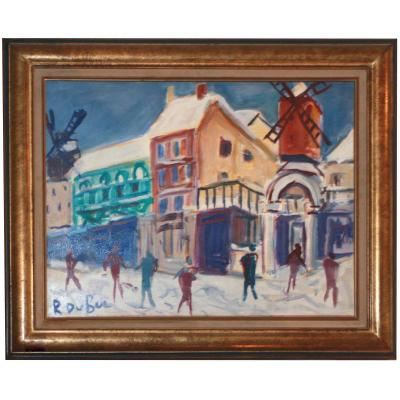 Oil On Canvas, Moulin Royge Under The Snow By Roland Dubuc