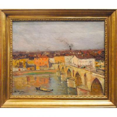 Oil On Canvas, View Of Montauban By Henri Marre