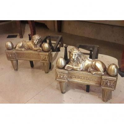 Pair Of Chenets In Bronze With Lions Ep L XVI