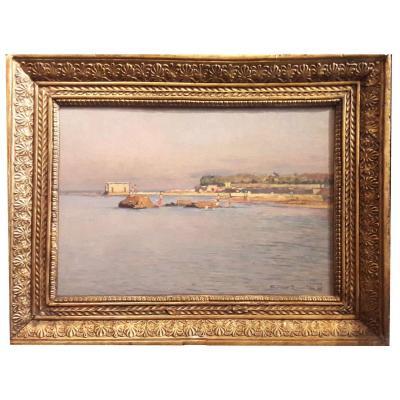 1 Oil On Panel, Near Venice Island By Gino Romiiti