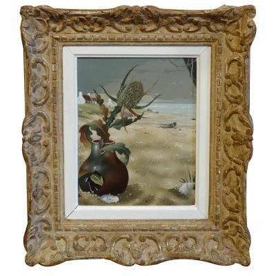 An Oil On Carton Still Life With Thistles By Rastislaww Racoff