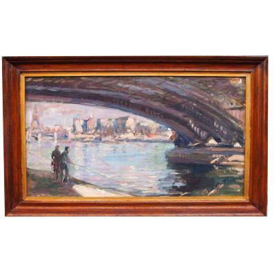 Oil On Isorel, Fishermen In Paris By Lucienne De Meiffren
